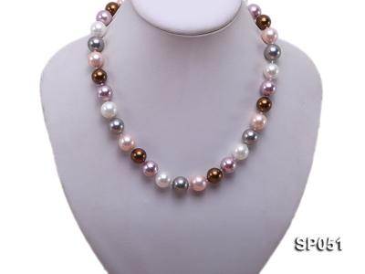 12mm multi-color round seashell pearl necklace SP051 Image 5