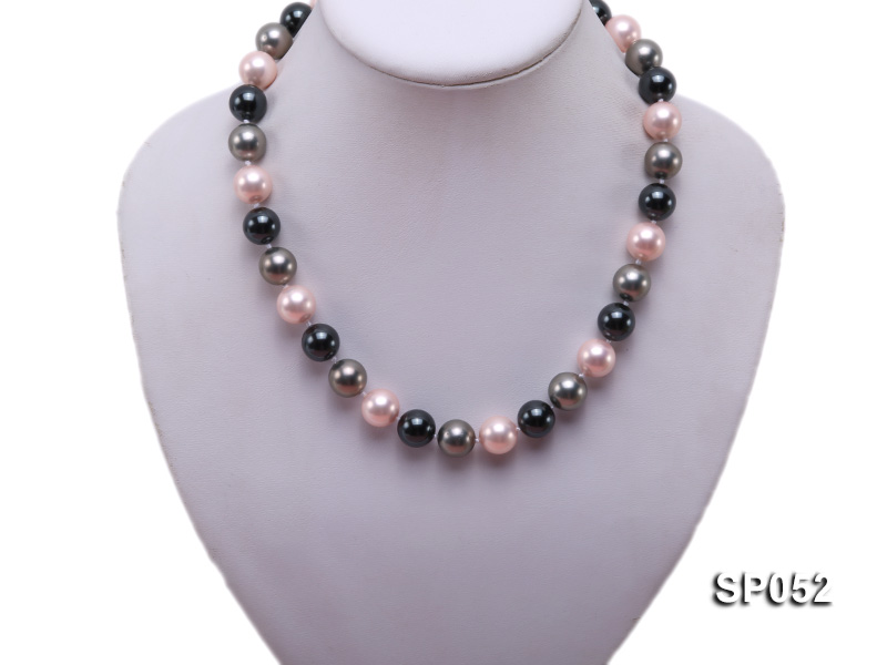 12mm multicolor round seashell pearl necklace big Image 5