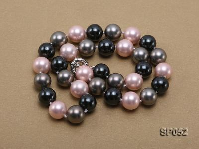 12mm multicolor round seashell pearl necklace SP052 Image 3