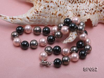 12mm multicolor round seashell pearl necklace SP052 Image 4