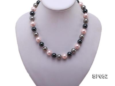 12mm multicolor round seashell pearl necklace SP052 Image 5