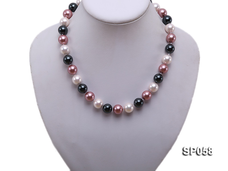 12mm multicolor round seashell pearl necklace big Image 4
