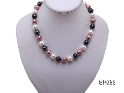 12mm multicolor round seashell pearl necklace SP058 Image 4