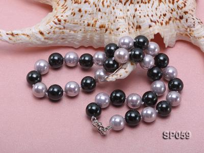 12mm multicolor round seashell pearl necklace SP059 Image 4