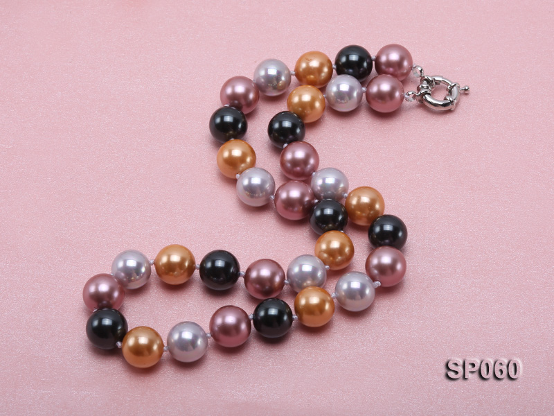 12mm colorful round seashell pearl necklace big Image 2