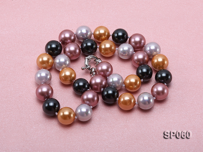 12mm colorful round seashell pearl necklace big Image 3