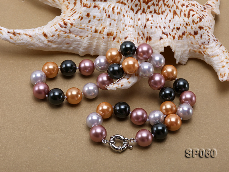 12mm colorful round seashell pearl necklace big Image 4