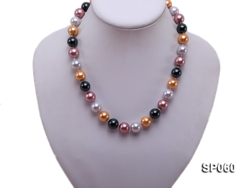 12mm colorful round seashell pearl necklace big Image 5