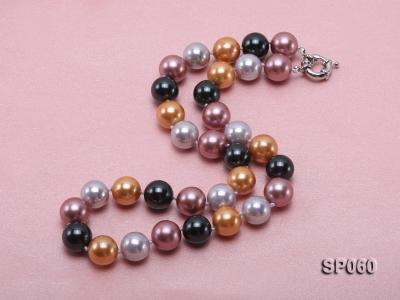 12mm colorful round seashell pearl necklace SP060 Image 2
