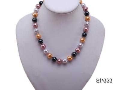12mm colorful round seashell pearl necklace SP060 Image 5