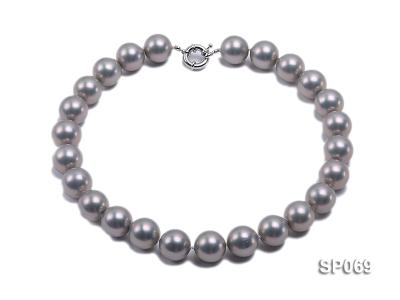 16mm grey round seashell pearl necklace SP069 Image 1