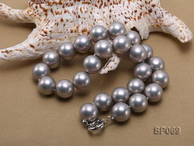 16mm grey round seashell pearl necklace SP069 Image 4