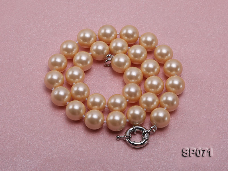 14mm light yellow round seashell pearl necklace big Image 3