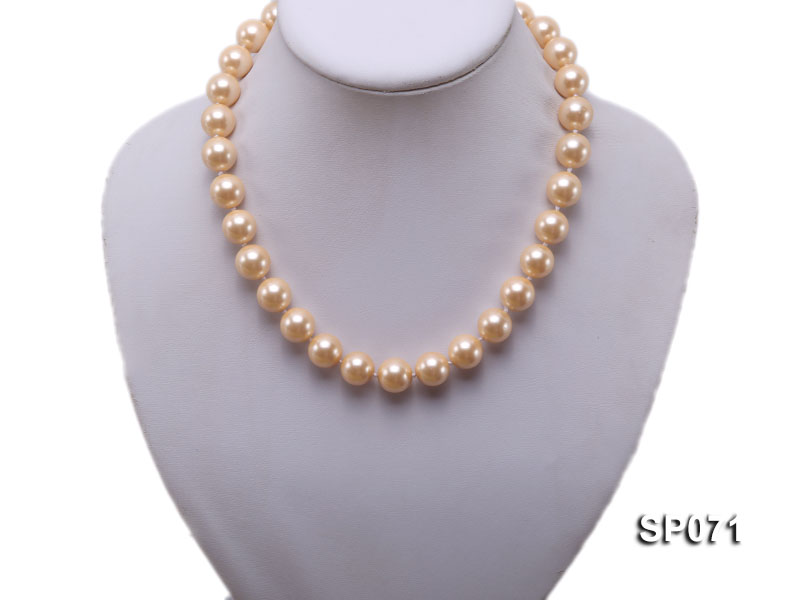 14mm light yellow round seashell pearl necklace big Image 5
