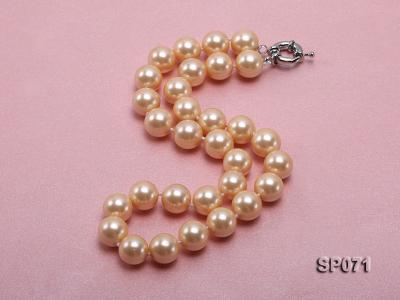 14mm light yellow round seashell pearl necklace SP071 Image 2