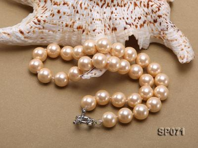 14mm light yellow round seashell pearl necklace SP071 Image 4