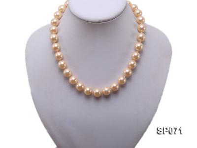 14mm light yellow round seashell pearl necklace SP071 Image 5