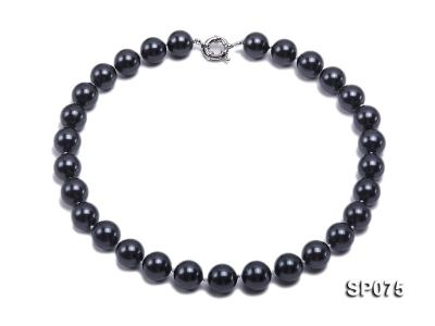 14mm black round seashell pearl necklace SP075 Image 1