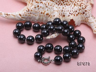 14mm black round seashell pearl necklace SP075 Image 3
