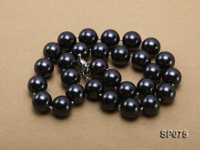 14mm black round seashell pearl necklace SP075 Image 4