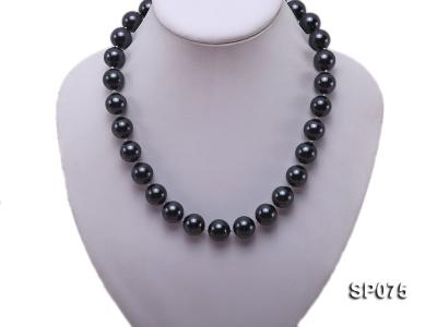 14mm black round seashell pearl necklace SP075 Image 5
