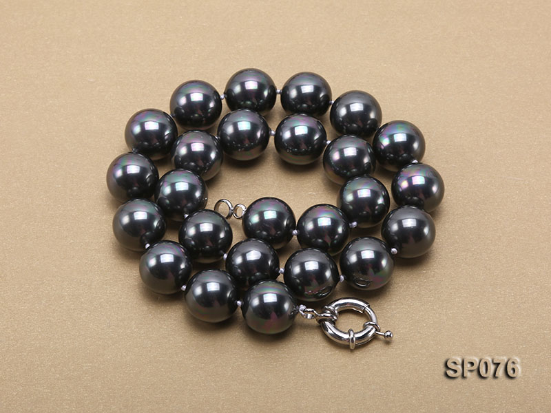 16mm shiny black round seashell pearl necklace big Image 3