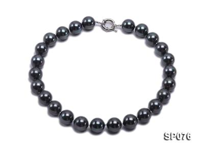 16mm shiny black round seashell pearl necklace SP076 Image 1