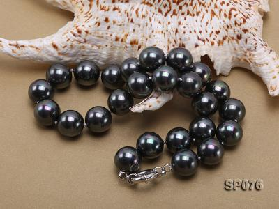 16mm shiny black round seashell pearl necklace SP076 Image 2
