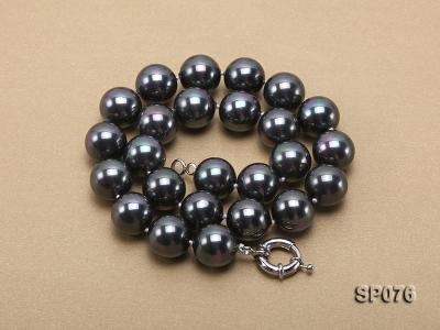 16mm shiny black round seashell pearl necklace SP076 Image 3