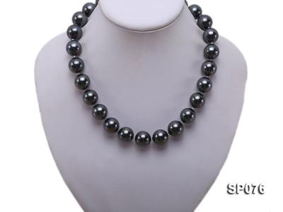 16mm shiny black round seashell pearl necklace SP076 Image 5