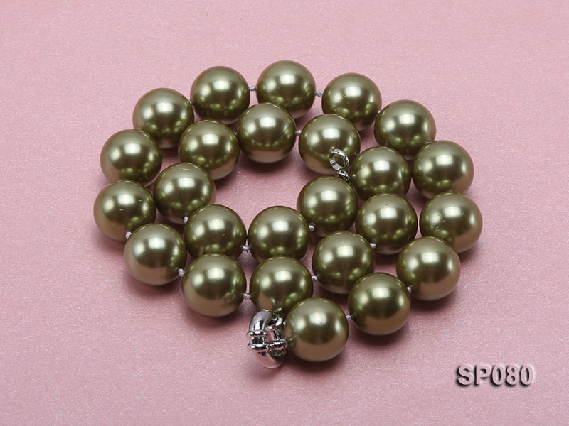16mm peacock green round seashell pearl necklace big Image 3
