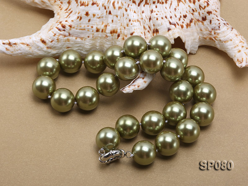 16mm peacock green round seashell pearl necklace big Image 4