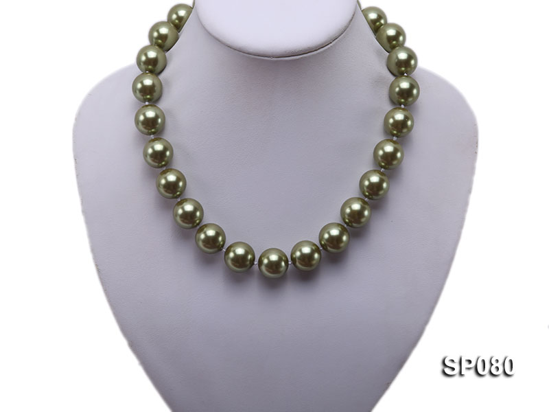 16mm peacock green round seashell pearl necklace big Image 5