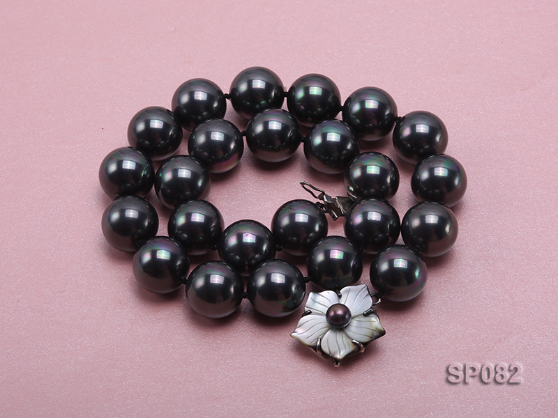 16mm black round seashell pearl necklace with a shell flower clasp big Image 2