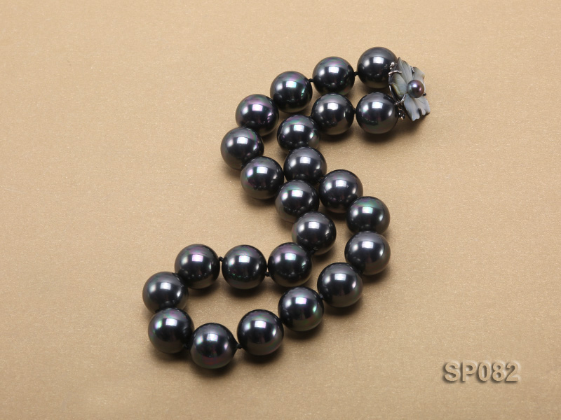 16mm black round seashell pearl necklace with a shell flower clasp big Image 3