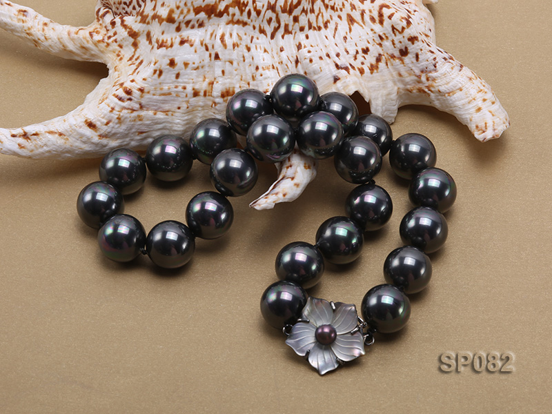 16mm black round seashell pearl necklace with a shell flower clasp big Image 4