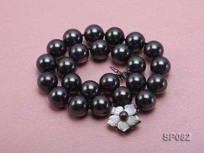 16mm black round seashell pearl necklace with a shell flower clasp SP082 Image 2