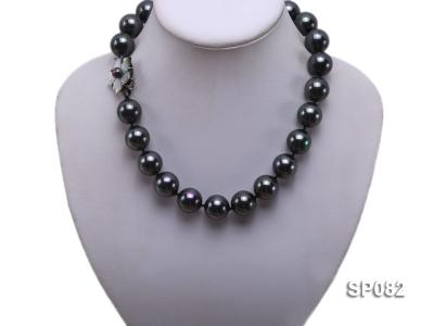 16mm black round seashell pearl necklace with a shell flower clasp SP082 Image 5