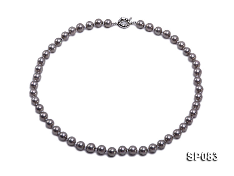 8mm grey round seashell pearl necklace big Image 1
