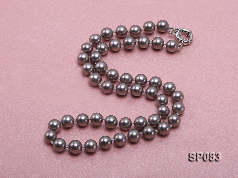 8mm grey round seashell pearl necklace big Image 2