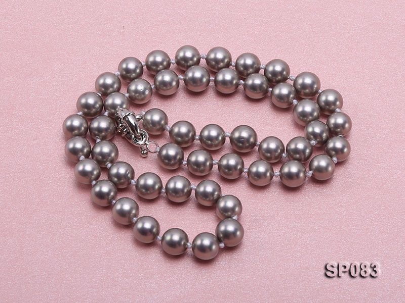8mm grey round seashell pearl necklace big Image 3
