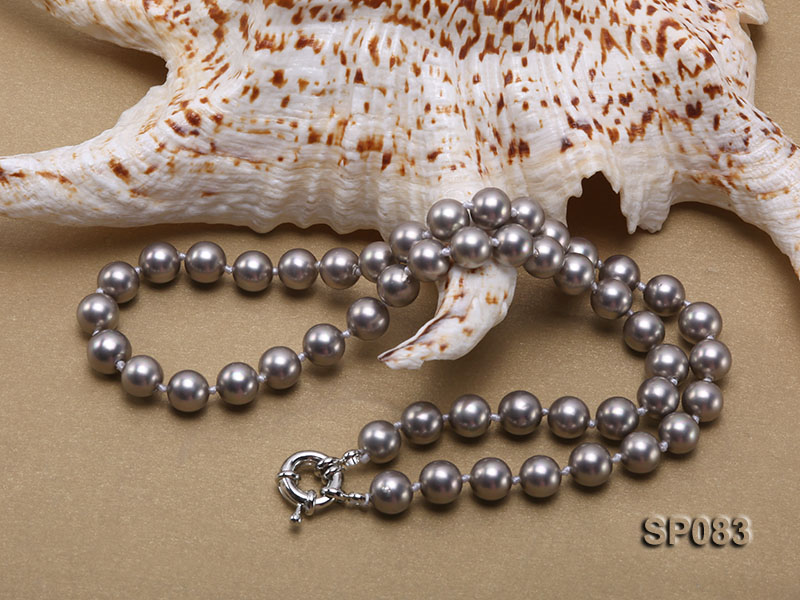 8mm grey round seashell pearl necklace big Image 4