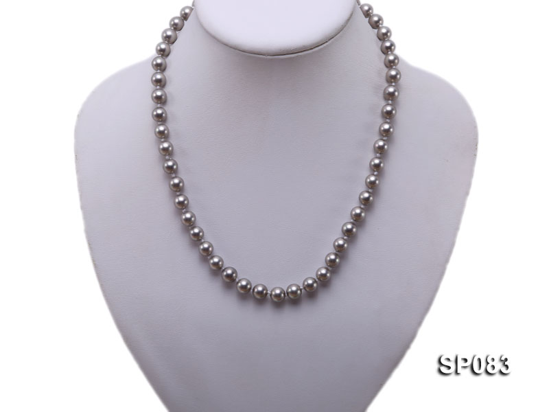 8mm grey round seashell pearl necklace big Image 5