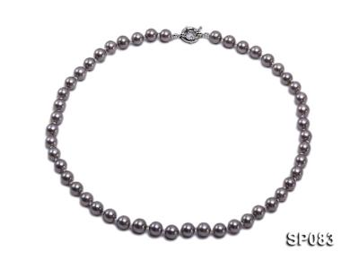 8mm grey round seashell pearl necklace SP083 Image 1