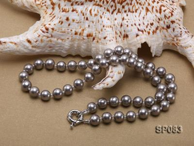 8mm grey round seashell pearl necklace SP083 Image 4