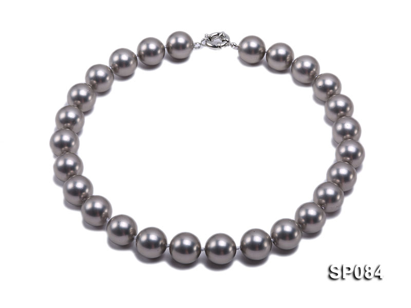 16mm shiny grey round seashell pearl necklace big Image 1