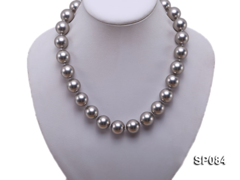 16mm shiny grey round seashell pearl necklace big Image 5