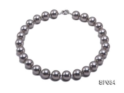 16mm shiny grey round seashell pearl necklace SP084 Image 1