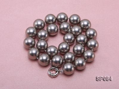 16mm shiny grey round seashell pearl necklace SP084 Image 3
