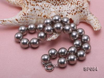 16mm shiny grey round seashell pearl necklace SP084 Image 4